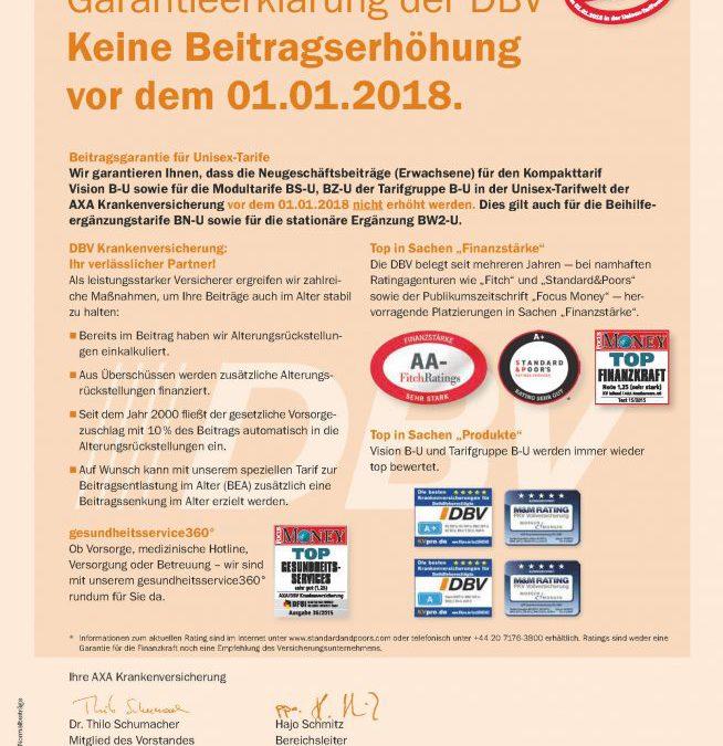 DBV Krankenversicherung – Beitragsgarantie