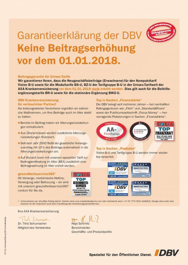 Beitragsgarantie DBV Krankenversicherung Beamte